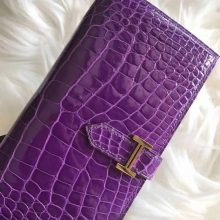 Discount Hermes Purple Shiny Crocodile Bean Wallet Clutch Bag Gold Hardware