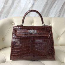 Elegant Hermes CK31 Miel Brown Shiny Crocodile Kelly25CM Bag Silver Hardware
