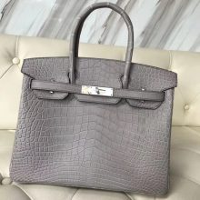 Elegant Hermes Galaxy Grey Crocodile Matt Birkin30CM Bag Silver Hardware