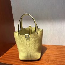 Wholesale Hermes 1Z Jaune Poussin Togo Leather Picotin18CM Tote Bag Silver Hardware