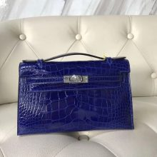 Noble Hermes 7T Blue Electric Alligator Shiny Crocodile Minikelly22CM Clutch Bag Silver Hardware