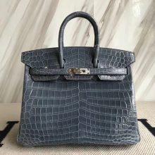 Fashion Hermes N7 Blue Tempete Crocodile Shiny Birkin Bag25CM Silver Hardware
