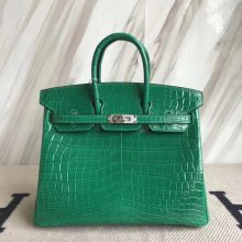 Elegant Hermes Crocodile Shiny Birkin Bag25CM in 6Q Emerald Green Silver Hardware