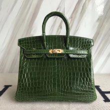 Luxury Hermes CK67 Vert Fonce Crocodile Shiny Birkin25CM Bag Gold Hardware