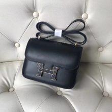 Fashion Hermes CK89 Black Box Calf Leather Constance18CM Bag Gold Lizard Hardware