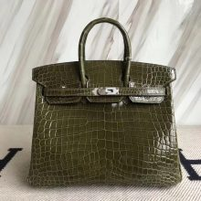 Elegant Hermes Crocodile ShinyLeather Birkin25CM Bag in 6H Olive Green Silver Hardware