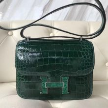 Fashion Hermes CK67 Vert Fonce Shiny Crocodile Constance18CM Bag Silver Lizard Hardware