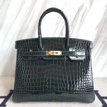 Fashion Hermes Shiny CrocodileLeather Birkin30CM Bag in 1P Blue Colvert Gold Hardware