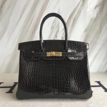 Elegant Hermes Shiny CrocodileLeather Birkin30CM Bag in Black Gold Hardware