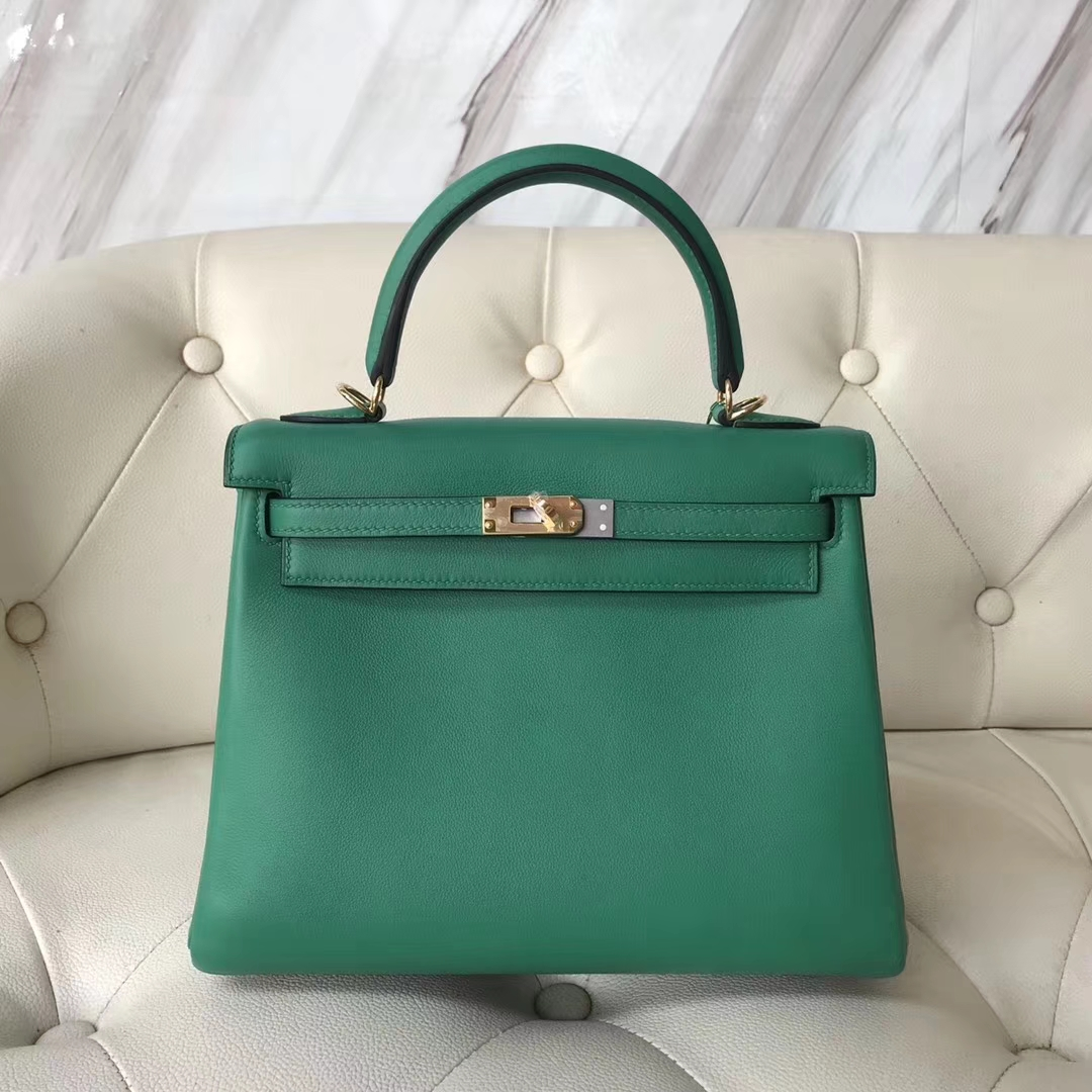d86fe1def150 New Arrival Hermes U4 Vert Verigo Swift Calf Kelly25CM Bag Gold Hardware