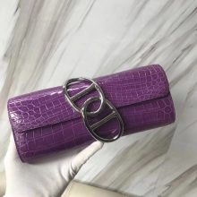 New Arrival Hermes Rose Purple Crocodile Shiny Egee Clutch Bag Silver Hardware