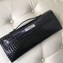 Luxury Hermes CK89 Black Porosus Shiny Crocodile Kelly Cut Evening Clutch Bag31CM