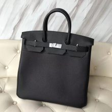 New Arrival Hermes Black Togo Calf Leather HAC Tote Bag40CM Silver Hardware