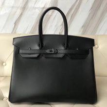 Elegant Hermes Black Box Calf Leather Birkin35CM Tote Bag Pewter Hardware