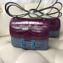 New Hermes Shiny Crocodile Constance18CM Bag in Galen Purple/Blue Jean/Blue Izmir