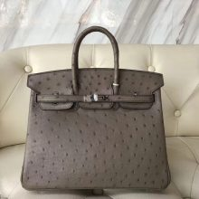 Discount Hermes Ostrich Leather Birkin25CM Bag in CK18 Etoupe Grey Silver Hardware