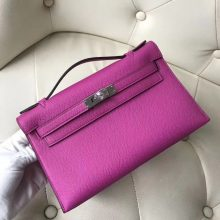 Sale Hermes 9I Rose Magnolia Epsom Calf  Minikelly Pochette Clutch Bag22CM