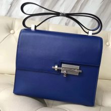 Fashion Hermes 7T Blue Electric Swift Calf Verrou Bag23CM Silver Hardware