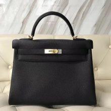 Hermes Classic Bags CK89 Black Togo Calf RetourneKelly32CM Gold Hardware