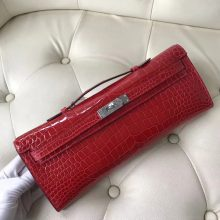 Pretty Hermes Shiny Crocodile Leather Kelly Cut Clutch Bag in CK95 Braise Silver Hardware