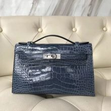 Luxury Hermes 7N Blue Tampete Alligator Shiny Crocodile Minikelly Pochette 22CM Silver Hardware