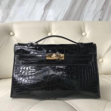Elegant Hermes Alligator Shiny Crocodile Minikelly Pochette 22CM in CK89 Black Gold Hardware