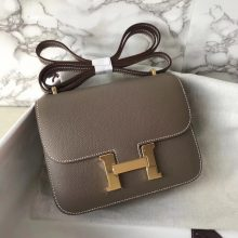 Fashion Hermes CK18 Etoupe Grey Epsom Calf Constance Shoulder Bag19CM