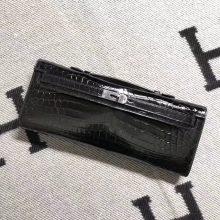 Fashion Hermes Black Shiny Crocodile Leather Kelly Cut Clutch Bag31CM Silver Hardware