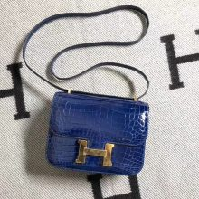 Wholesale Hermes Shiny Crocodile Leather Constance Bag19CM in Blue Electric Gold Hardware