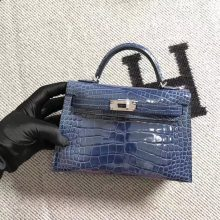 Noble Hermes Blue Jean Shiny CrocodileLeather Minikelly-2 Clutch Bag Silver Hardware