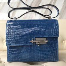 Wholesale Hermes 7Q Mykonos Blue Crocodile Shiny Leather VerrouShoulder Bag21CM