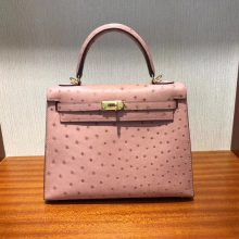 Pretty Hermes CC94 Terre Cuite Ostrich Leather Sellier Kelly Bag25CM Gold Hardware