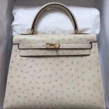 Discount Hermes Ostrich Leather Kelly25CM Bag in 3C Wool White Gold Hardware