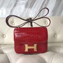 Wholesale Hermes Shiny Crocodile Leather Constance18CM Bag in CK95 Braise Gold Hardware
