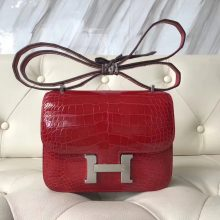 Pretty Hermes CK95 Braise Alligator Shiny Crocodile Constance Bag18CM Silver Hardware