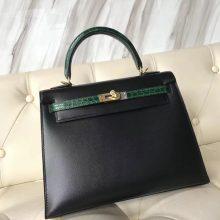 Fashion Hermes Kelly Bag25CM in CK89 Black Box Calf & CK67 Vert Fonce Crocodile Leather