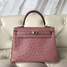 Wholesale Hermes Ostrich Leather Kelly25CM Bag in CK94 Terre Cuite Gold Hardware