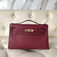 Pretty Hermes Bordeaux Ostrich Leather Minikelly22CM Pochette Evening Bag Gold Hardware