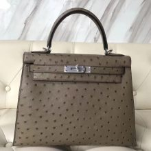 Fashion Hermes Ostrich Leather Sellier Kelly28CM Bag in Grey Silver Hardware