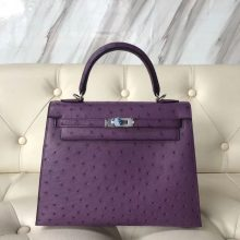 Wholesale Hermes P9 Anemone Purple Ostrich Leather Sellier Kelly25CM Bag Silver Hardware
