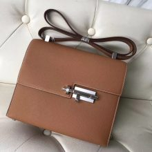 Discount Hermes Epsom Calf Verrou Bag23CM in CK31 Gold Silver Hardware