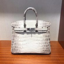 Elegant Hermes Himalaya Crocodile Leather Birkin25CM Bag Silver Hardware