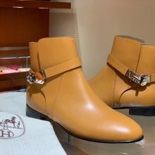 Fashion Hermes Short Boots 2018 Autumn New Gold Chevre Leather Neo Boots Shoes 35-41