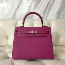 Wholesale Hermes L3 Rose Purple Epsom Calf Sellier Kelly25CM Bag Gold Hardware