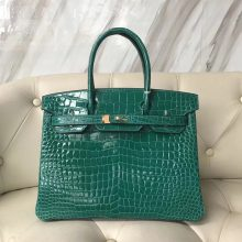 Luxury Hermes 6Q Emerald Green Shiny Crocodile Leather Birkin30CM Bag Gold Hardware