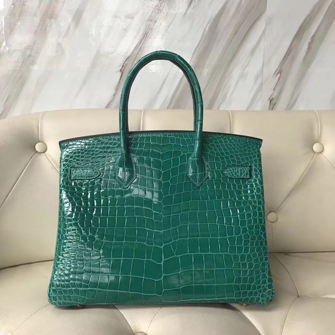 0af287399272 Brand  Hermes  Style  Birkin Bag  Material Shiny Porosus Crocodile Leather  Color 6Q Emerald Green  Size 30cm  Hardware Gold Accessories  Padlock fand  Keys