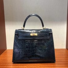 Wholesale Hermes 7K Blue Saphir Shiny Crocodile Leather Kelly25CM Gold Hardware