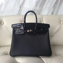 Elegant Hermes CK89 Black Togo Calf & Crocodile Leather Birkin Bag25CM Rose Gold Hardware