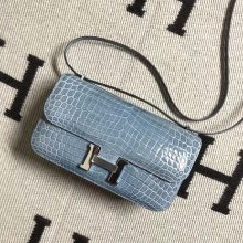 New Arrival Hermes Shiny Crocodile Constance Bag26CM in Blue Jean Silver Hardware
