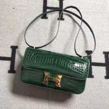 Noble Hermes CK67 Vert Fonce Shiny Crocodile Leather Constance Bag26CM Gold Hardware